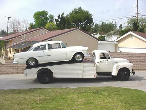 '55 Chevy racecar loaded on the '53 Chevy ramp truck