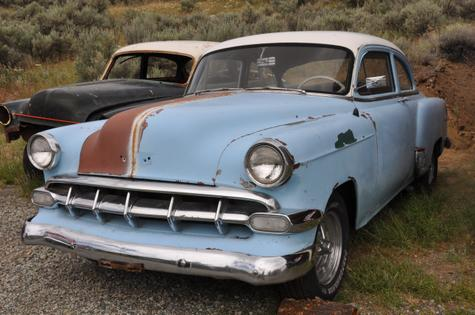 1954 Chevy 150 2-door sedan and Bel Air parts car