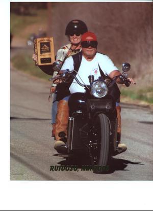 B J Heidi On Honest Charley Ford Flathead Powered Motorcycle